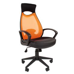 Кресло оператора Chairman 840 black сетка/ткань/экокожа оранжевый/черный