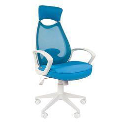 Кресло оператора Chairman 840 white сетка/ткань/экокожа голубой