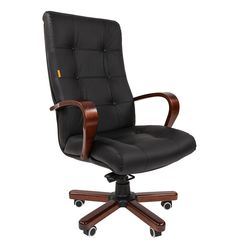 Кресло руководителя Chairman 424 WD кожа черный