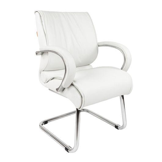 Кресло посетителя Chairman 445 кожа белый