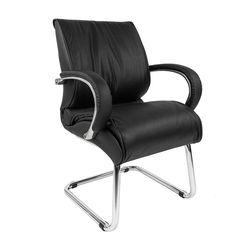 Кресло посетителя Chairman 445 кожа черный