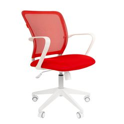 Кресло оператора Chairman 698 white сетка/ткань красный