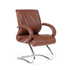 Кресло посетителя Chairman 445 кожа коричневый