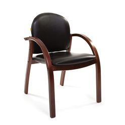 Кресло посетителя CHAIRMAN 659 темный орех/экокожа PU3816-12 черная глянцевая