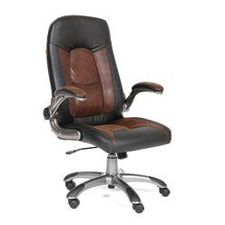 Кресло руководителя Chairman 439 экопремиум/микрофибра черный/коричневый