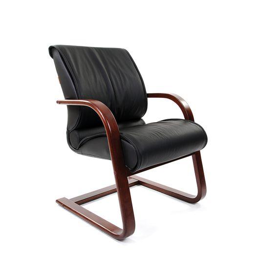 Кресло посетителя Chairman 445 WD кожа черная