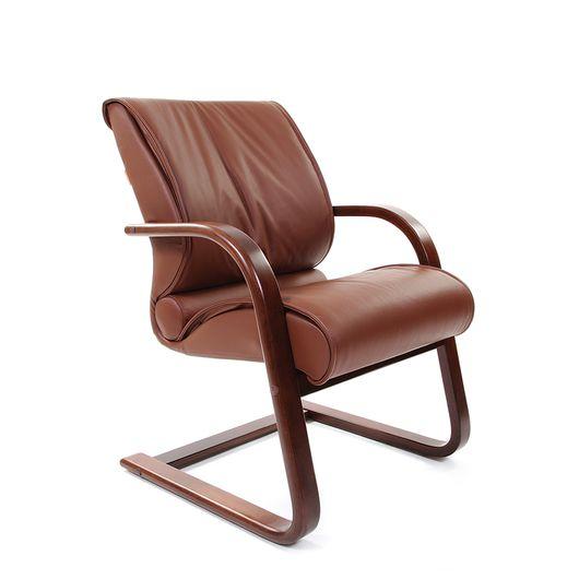 Кресло посетителя Chairman 445 WD кожа коричневый
