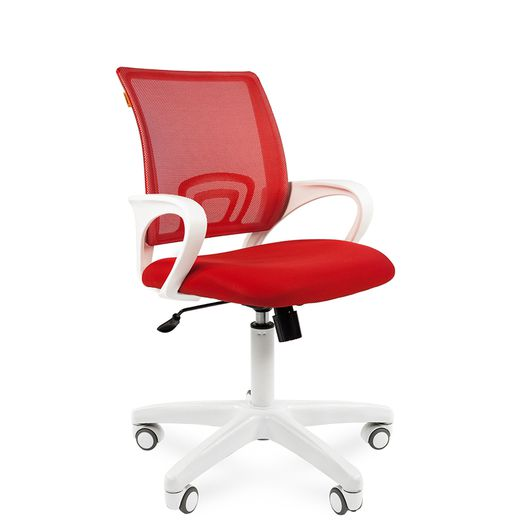 Кресло оператора Chairman 696 white сетка/ткань красный