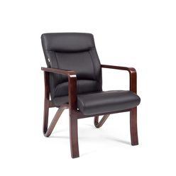 Кресло посетителя Chairman 675 кожа черный