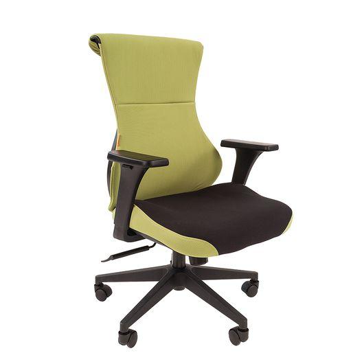 Кресло геймерское Chairman GAME 10 ткань черный/зеленый