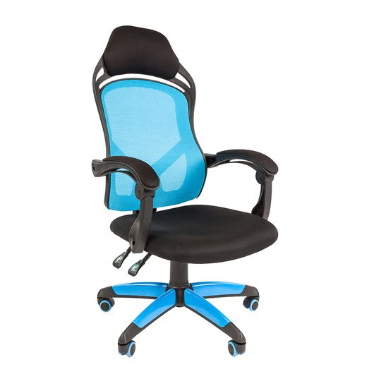 Кресло геймерское Chairman game 12 ткань черная/сетка голубая