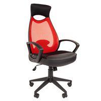 Кресло оператора Chairman 840 black сетка/ткань/экокожа красный/черный