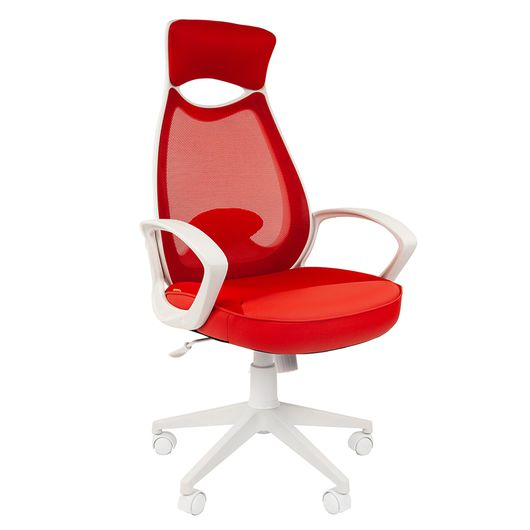 Кресло оператора Chairman 840 white сетка/ткань/экокожа красный
