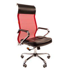 Кресло руководителя Chairman 700 сетка/экопремиум красный/черный