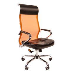 Кресло руководителя Chairman 700 сетка/экопремиум оранжевый/черный