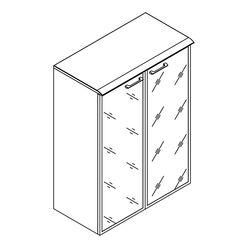 Шкаф со стеклянными дверьми в алюминевой рамке с топом Skyland WAVE WMC 85.7 дуб сонома