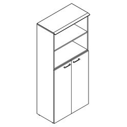 Шкаф с глухими средними дверьми и топом Skyland WAVE WHC 85.6 дуб сонома