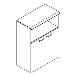 Шкаф с глухими малыми дверьми и топом Skyland WAVE WMC 85.3 дуб сонома