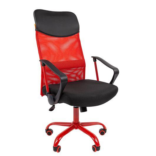 Кресло руководителя CHAIRMAN 610 CMet сетка красная/ткань черная