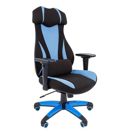 Кресло геймерское Chairman GAME 14 ткань черный/голубой