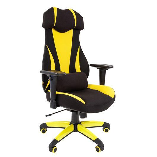 Кресло геймерское Chairman GAME 14 ткань черный/желтый