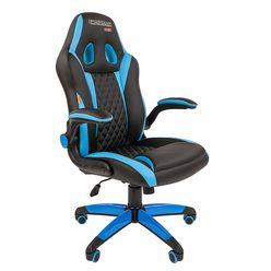 Кресло геймерское Chairman GAME 15 экопремиум черный/голубой