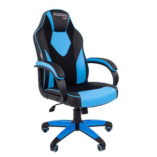 Кресло геймерское Chairman GAME 17 экопремиум черный/голубой