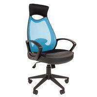 Кресло оператора Chairman 840 black сетка/ткань/экокожа голубой/черный