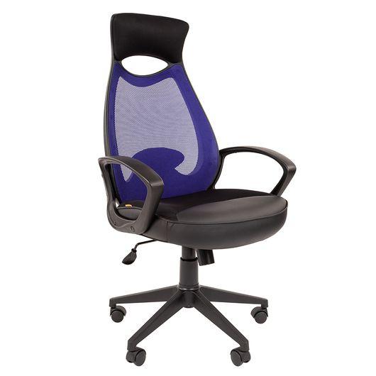 Кресло оператора Chairman 840 black сетка/ткань/экокожа синий/черный
