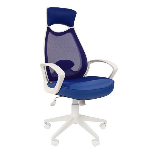 Кресло оператора Chairman 840 white сетка/ткань/экокожа синий
