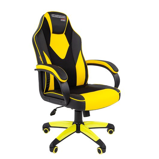 Кресло геймерское Chairman GAME 17 экопремиум черный/желтый