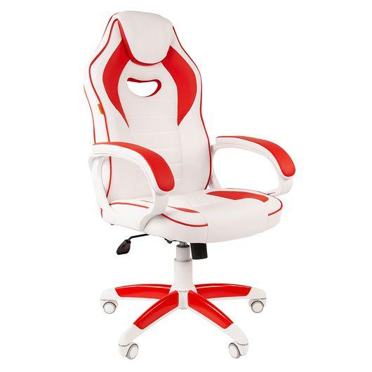 Кресло геймерское Chairman GAME 16 экопремиум белый/красный