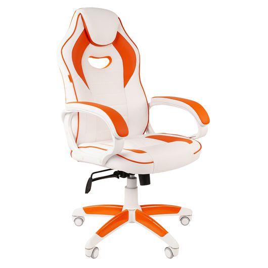 Кресло геймерское Chairman GAME 16 экопремиум белый/оранжевый