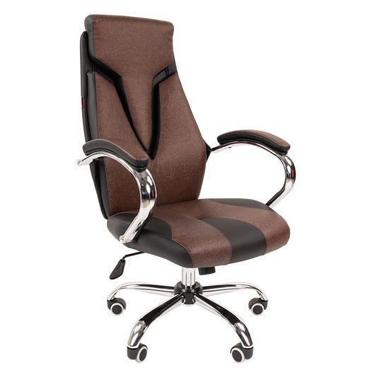 Кресло руководителя Chairman 901 экопремиум черный/коричневый