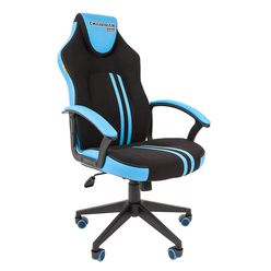 Кресло геймерское Chairman GAME 26 экопремиум черный/голубой